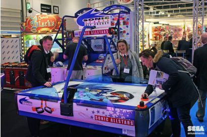 Sonic Sports Air Hockey - 3 Players laughing and having fun with air hockey