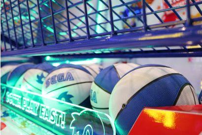 Sonic Sports Kids Basketball - Closeup of the custom small basketballs and lighting